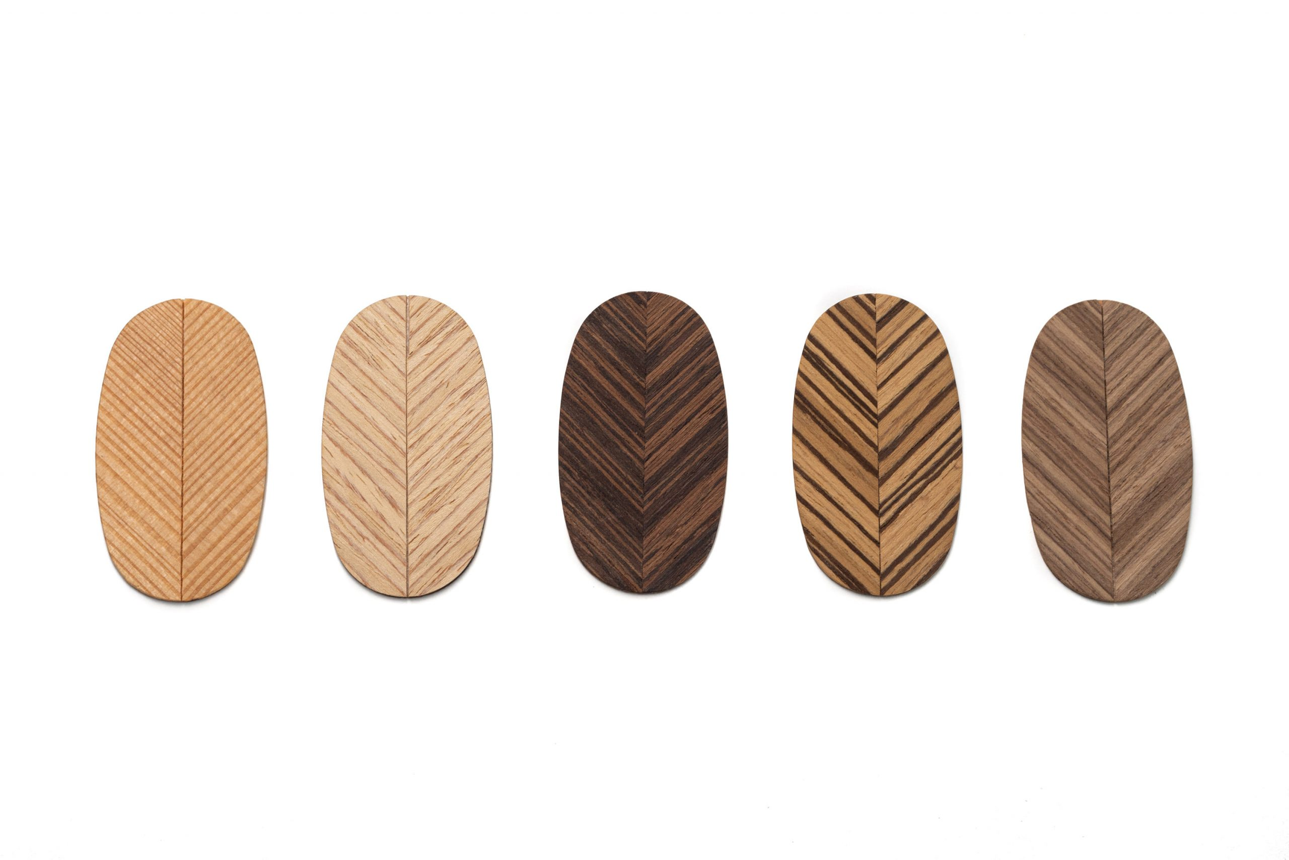 Slovenian Leaf Shaped Broches In Different Colors
