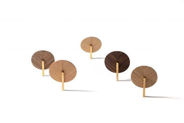 Veneer Broches With Different Finishes
